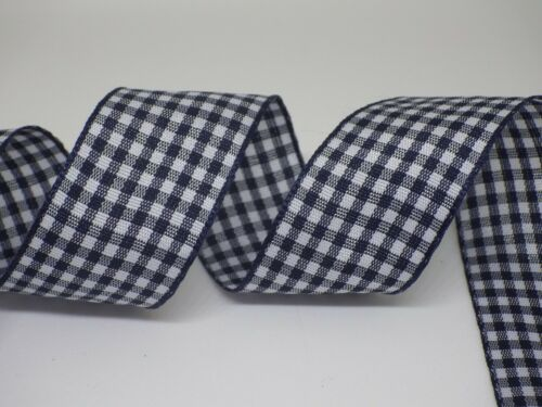 free postage Gingham Check Ribbon 25mm in 2m or 3m cut lengths
