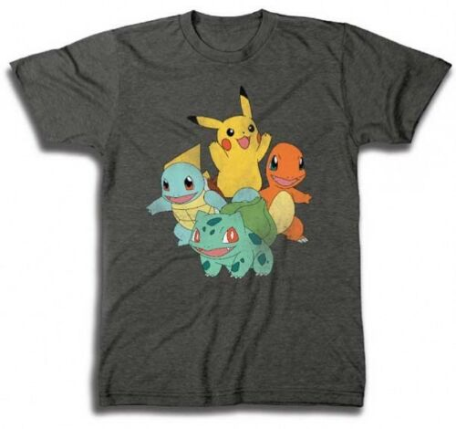 Freeze Pokemon 4 Characters Pikachu Adult Men Grey T-shirt 27-MUSN034 US Seller