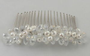 White Freshwater Pearl and Crystal Beading Hair Comb Bridal Hair Accessories