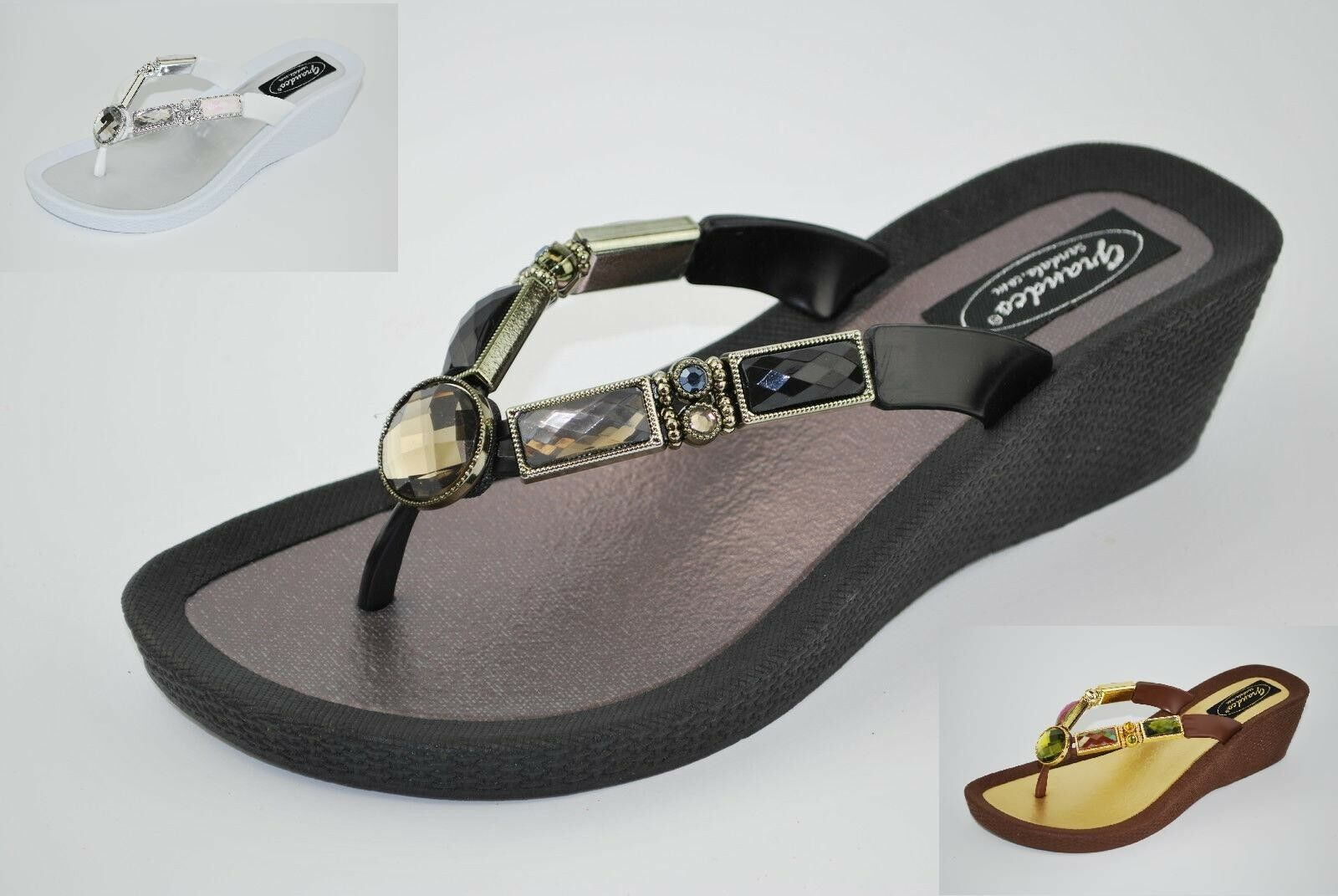 Grandco Ladies Black Bamboo Sandal Jeweled WedgeThong Black Ladies Brown or White 26255E 33b0cb