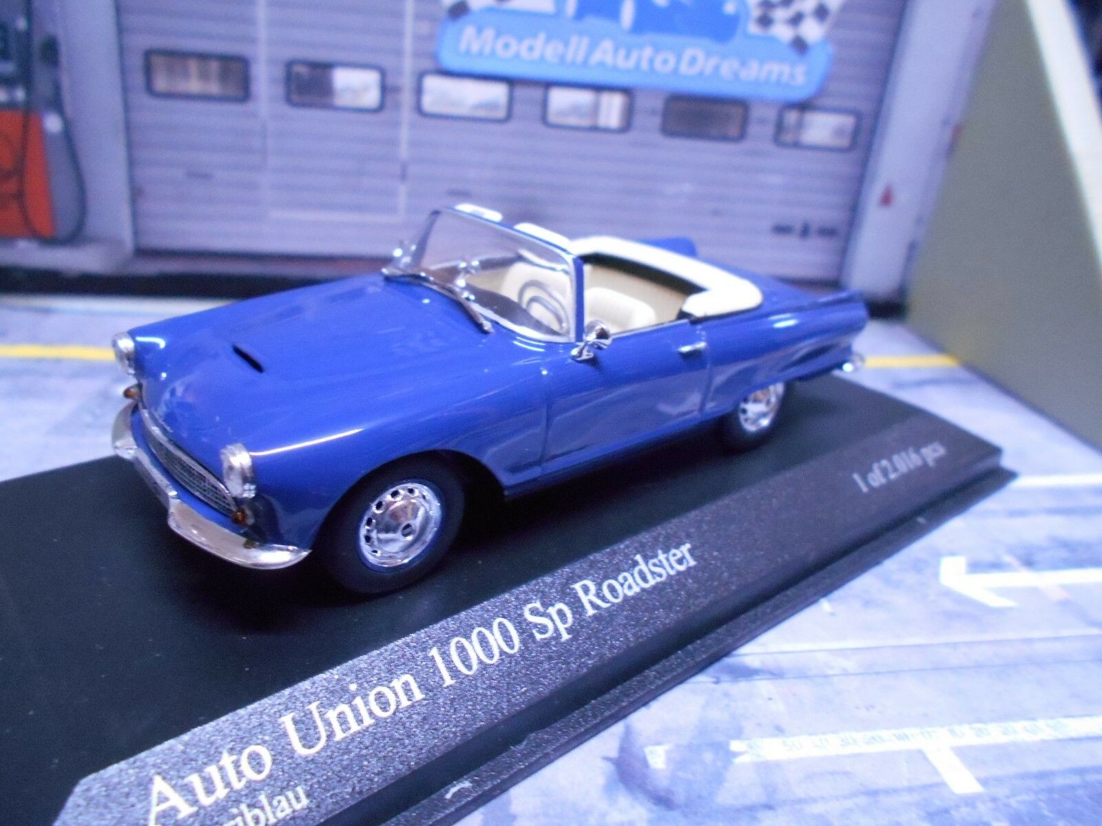 DKW AUDI AUTO UNION 1000SP 1000 Sp Roadster Cabrio blue 1958 Minichamps 1 43