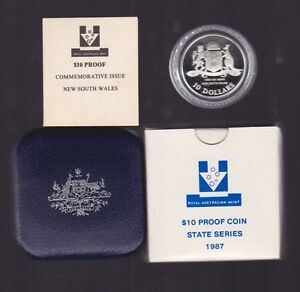 1987-Silver-Proof-10-Coin-New-South-Wales-Australia-State-Series-Set-in-capsule