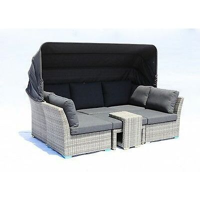 Florence 5pc Outdoor Garden Daybed Lounge Sofa Couch Wicker Furniture Setting