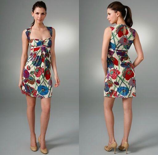 216 TBags T-Bags orange Print Bra Cup Twist Knot Cotton Sweetheart Dress Sz XS