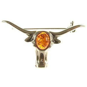 BALTIC-AMBER-STERLING-SILVER-925-LADIES-BULL-BROOCH-PIN-JEWELLERY-JEWELRY-GIFT