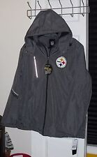 NWT Mens NFL Pittsburgh Steelers Gray Warm Fall Hooded Bomber Jacket - Sz Large