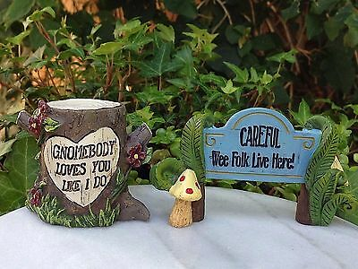 Miniature Dollhouse FAIRY GARDEN ~ Gnomebody Loves You & Wee Folk Live Here Sign