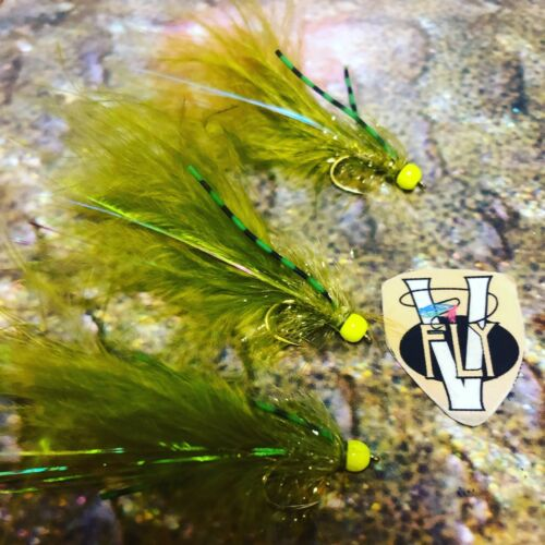 3 V Fly Size 10 Ultimate Hot Legs Flexi Olive /& Lime Damsel Trout Flies