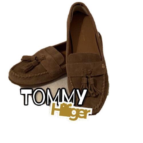 Tommy Hilfiger Womens Suede Brown SlipOn Flats Comfort Tassel Loafer Shoe Size9M