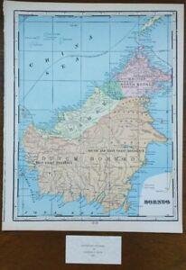 Vintage-1900-BORNEO-Map-11-034-x14-034-Old-Antique-Original-JAKARTA-SABAH-SARAWAK