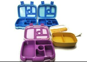 Lot of 4 Bentgo Kids Lunch Box Blue Purlpe Yellow