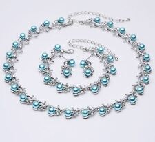 TURQUOISE FAUX PEARL & DIAMANTE CRYSTAL CHOKER NECKLACE, EARRINGS & BRACELET SET