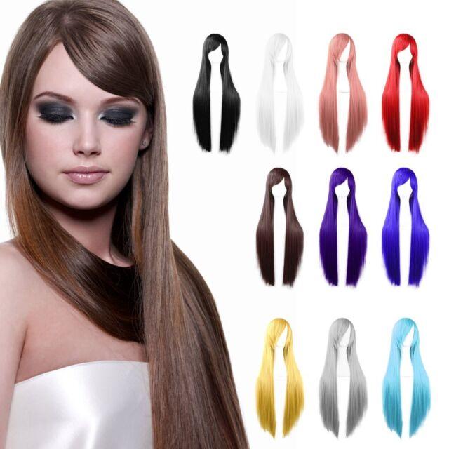 Womens Long Straight Cosplay Costume Halloween Full Hair Wig Wigs Fashion 80cm