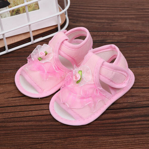 Newborn Infant Baby Girls Soft Crib Sole Shoes Anti-slip Sneakers Floral Sandals