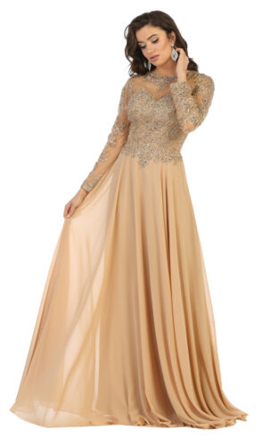 NEW FORMAL MOTHER OF THE BRIDE LACE DRESS EMBROIDERED WEDDING GUEST EVENING GOWN