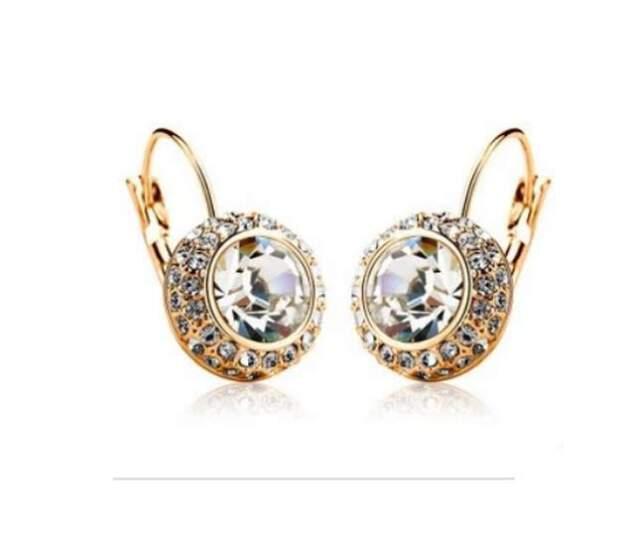 1 Pair Women Fashion Rhinestone Crystal Dangle Earrings Ear Hook Stud Jewellery