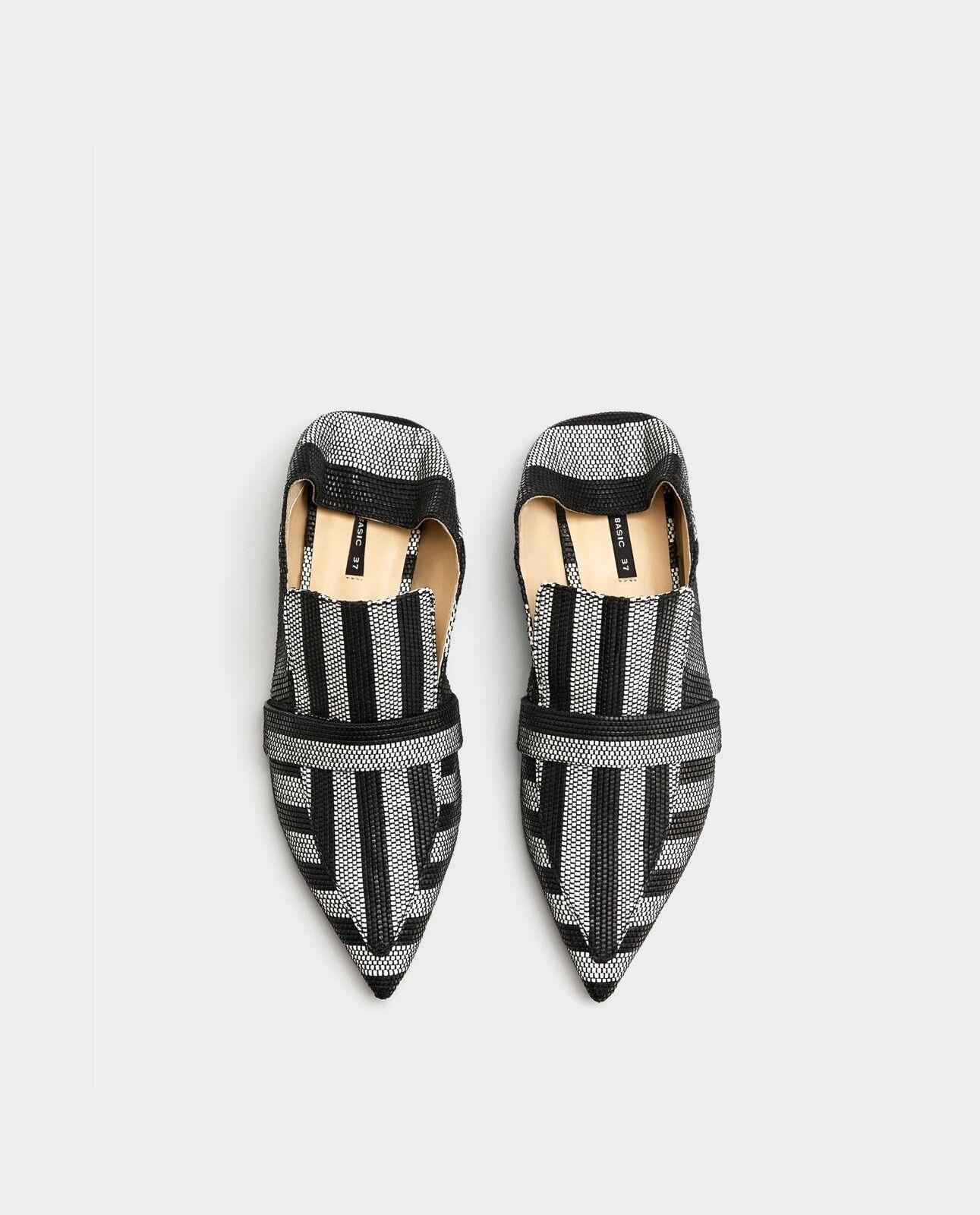 Zara Woman Striped Striped Striped Flat Mule Loafers 6436 201 Size 8 NWT 616124