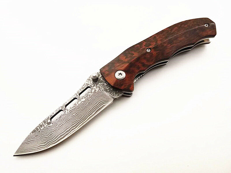 Handmade Genuine Damascus Natural Snakewood Handle Folding knife Leather Sheath
