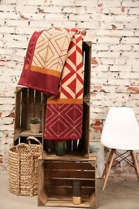 IBENA-Burgundy-Multi-Classy-Jaquard-Woven-Cotton-Blend-Throw-Blanket-Kashan