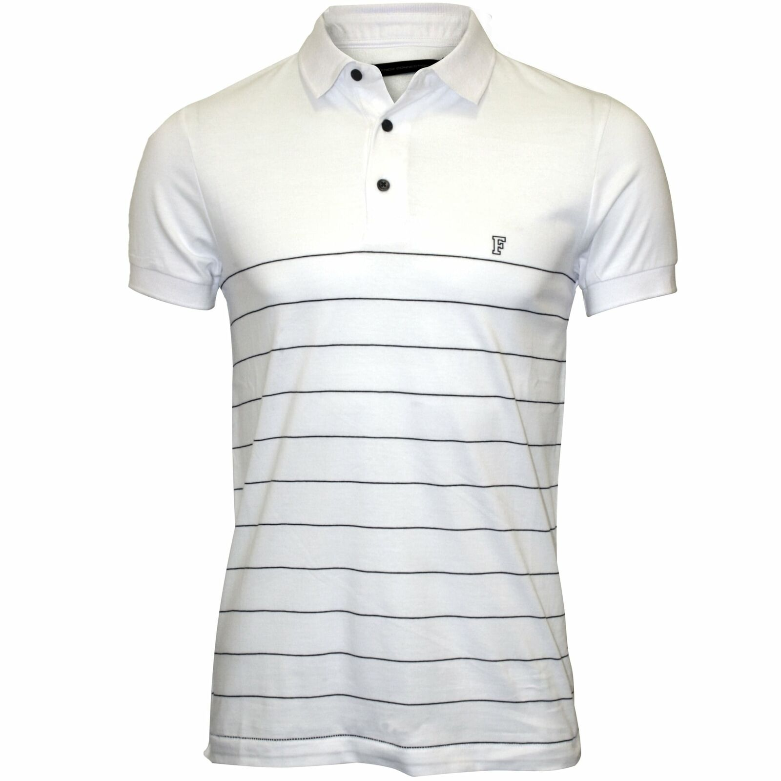 French Connection Striped Pique Men's Polo Shirt, White navy