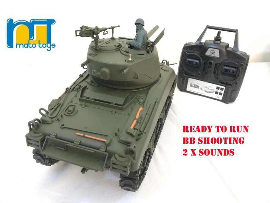 Mato Radio Control Remoto Rc 2.4G Tanque M4A1 SHERMAN 1 16 con 2 sonidos Reino Unido