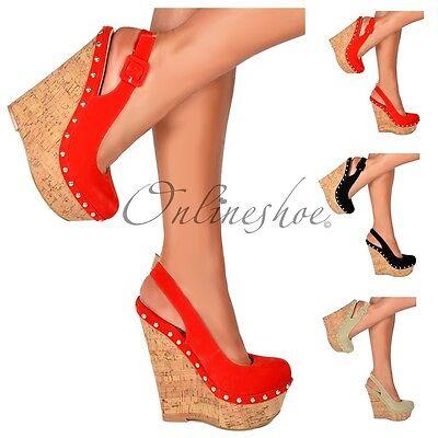 Womens Strappy Slingback Cork Wedge Platform High Heels Shoe Buckle Stud Size