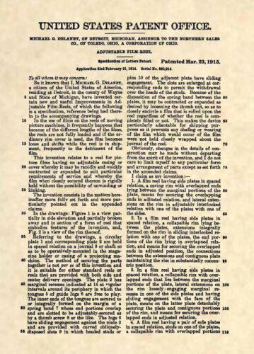 Official 1915 Film Reel US Patent Art Print Antique Vintage Movie Cinema 463