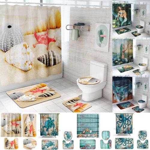 4pcs Non-Slip Pad Bathroom Pedestal Rug+Lid Toilet Cover+Bath Mat+Shower Curtain