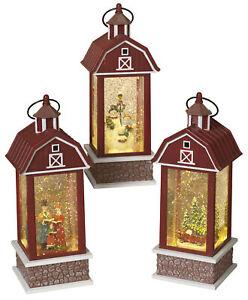 Christmas-Scene-Barn-Shaped-Spinning-Glitter-Water-Snow-Globe-Lanterns-Set