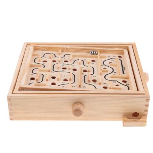 Wood Labyrinth Maze Puzzle Game Preschool Kids Develoopment Education Toys