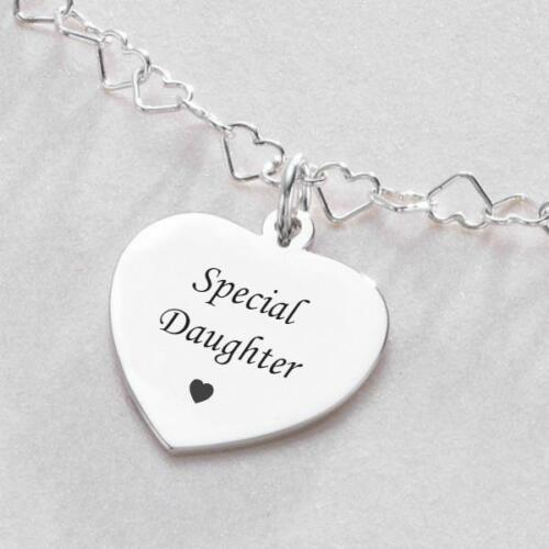 Sterling Silver Necklace with Engraving Personalised. Beautiful Hearts Chain