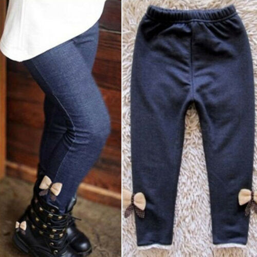 Neu Leggings Hose Jeans Baby Schleife Warm Kinder Krawatte Spitze Winter