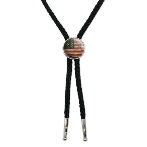 Rustic American USA Flag Distressed Western Southwest Bolo Tie