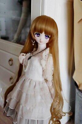 """1//6 6-7/"""" BJD Doll Wig Red Brown Auburn Curly Curls Wavy Fluffy Hair Long UAL-21"""