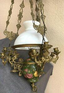 Huge antique french black forest light chandelier early 1900's ceramic bronze