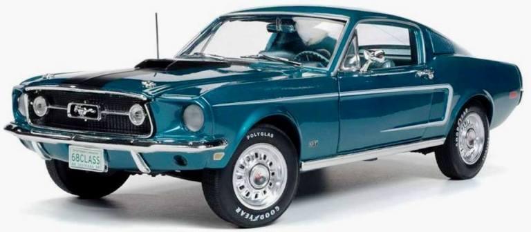 1968 Mustang Cobra Jet 1 18 Aqua 1132 Auto World