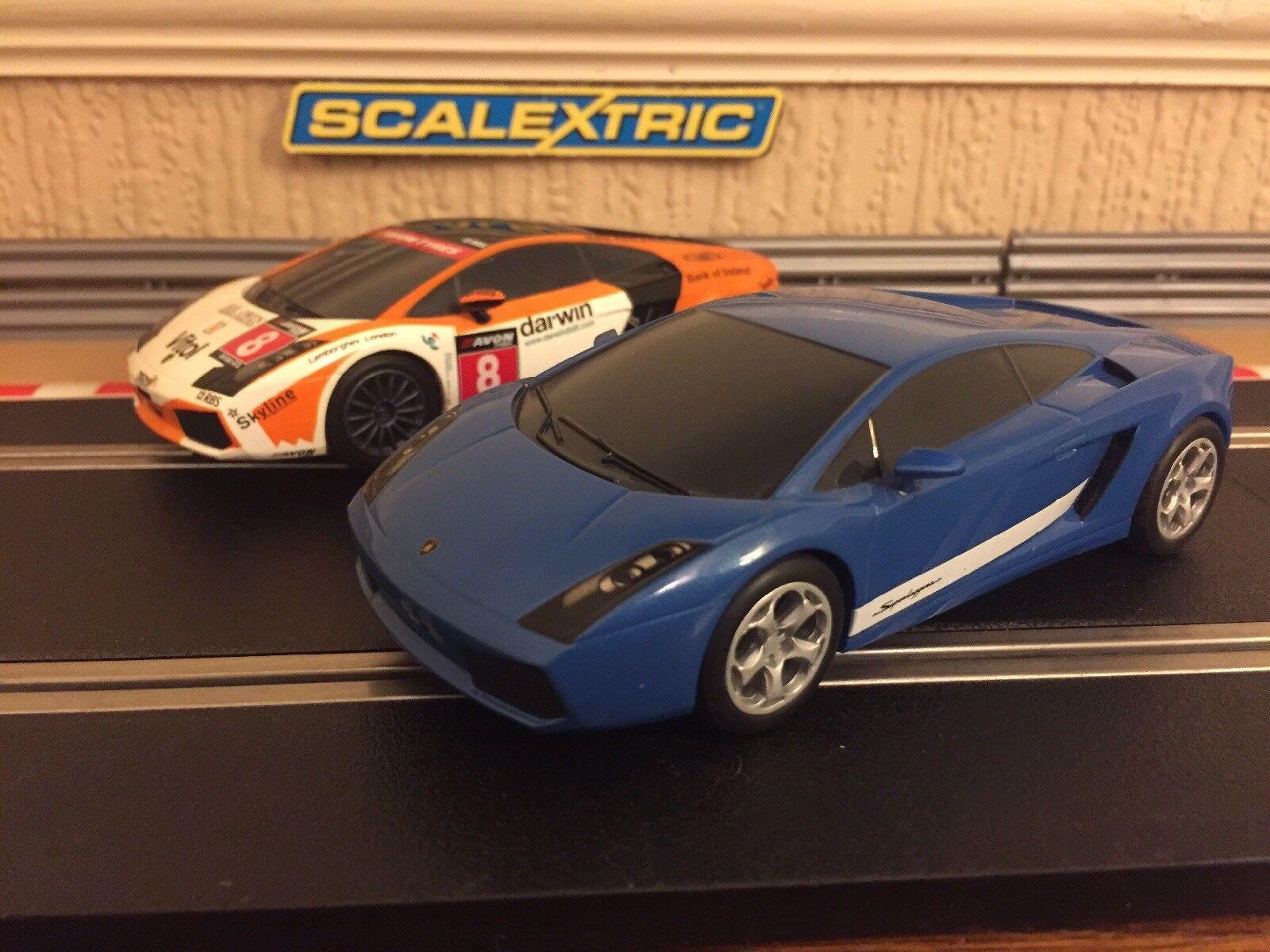 Scalextric Lamborghini Gallardo Cars x2 Fully Serviced & New Braids Fitted VGC