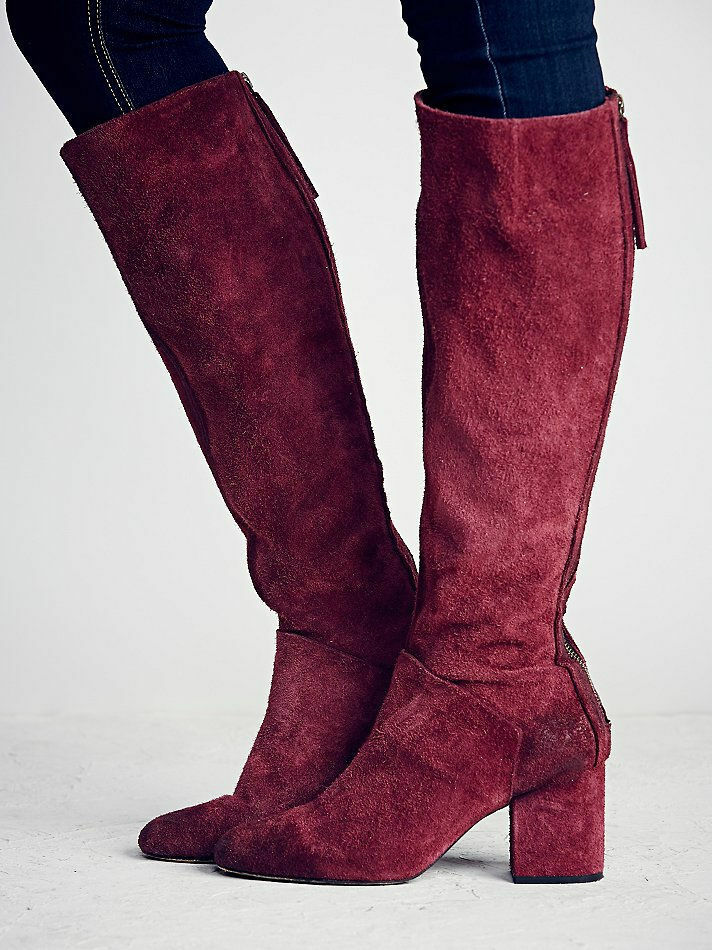 $298 NEW 40 9 FREE PEOPLE BORDEAUX BERRY KNEE SUEDE Tall Boot ZIPPER BLOCK