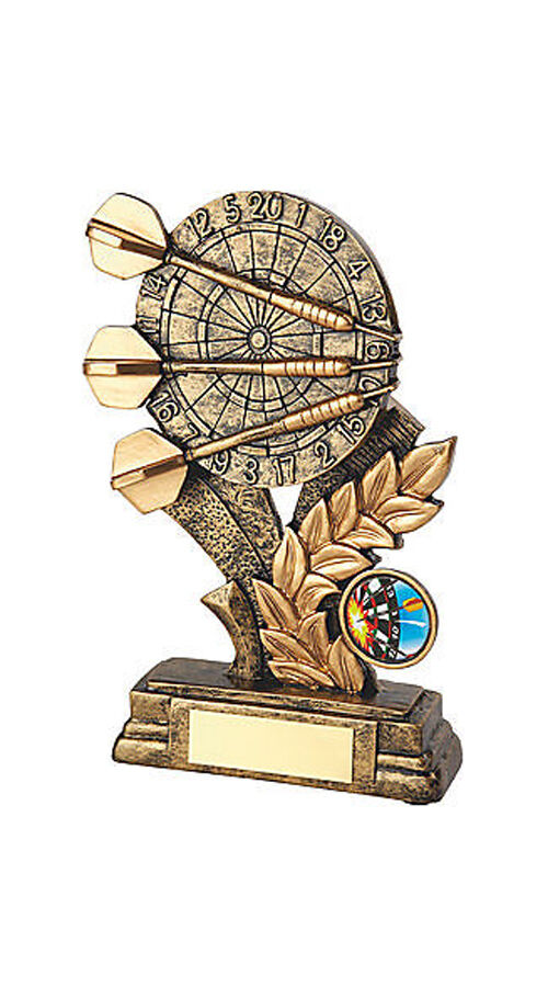 Top Quality Antique gold Resin Darts Trophy Award With Engraved Plaque