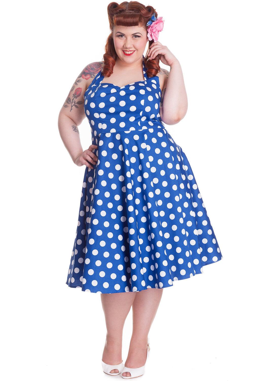 Hell Bunny 50's Retro Polka Dot Haler Dress Marian Polka Dot Halter Party Dress