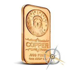 1 oz Copper Bar - Statue Of Liberty 999 Copper Bullion Bar