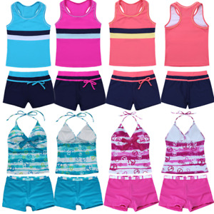 Kids-Girl-Two-Piece-Halter-Tankini-Swimwear-Bikini-Swimsuit-Bathing-Suit-Costume