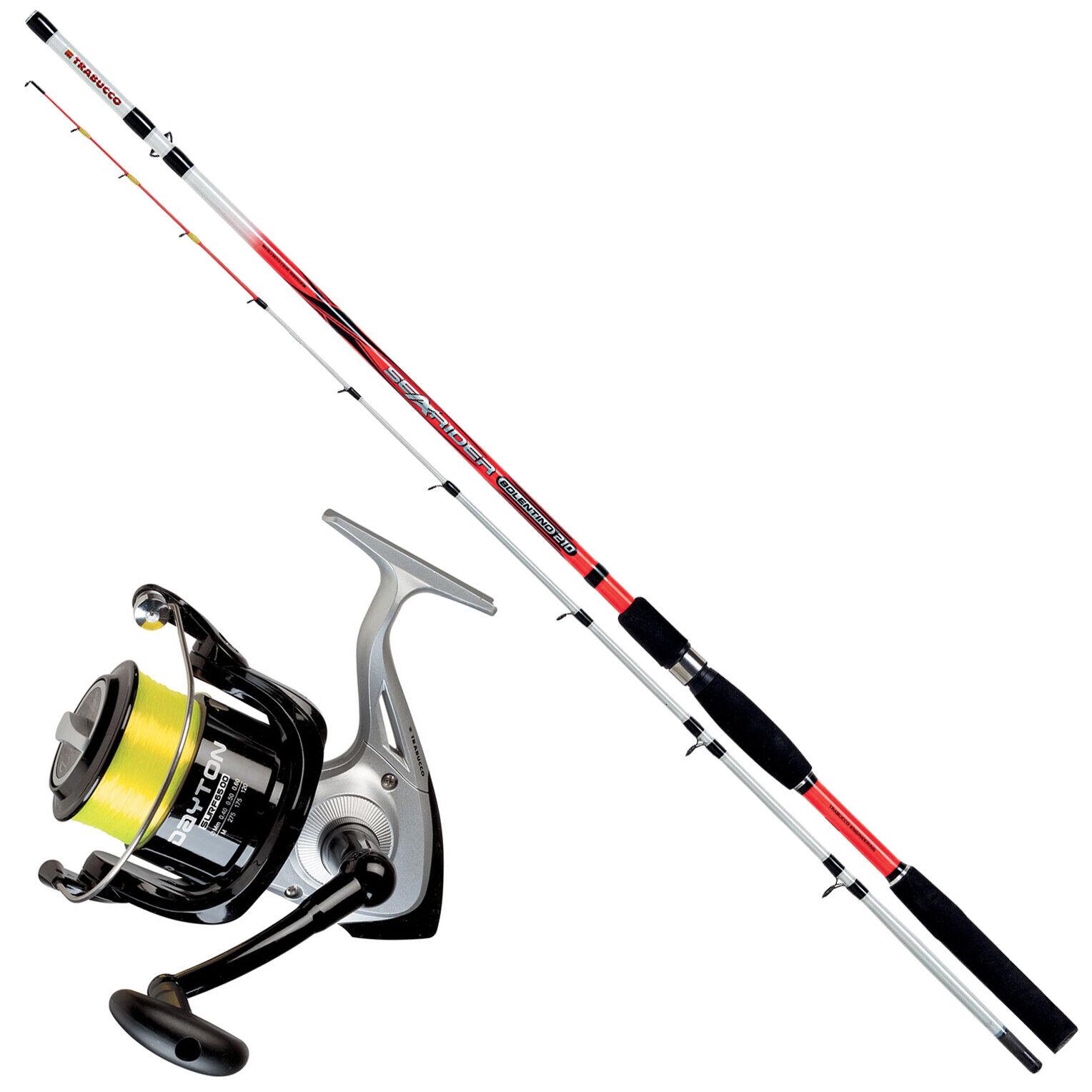 KP3318 Kit Pesca Bolentino Trabucco Canna Searider 2,10m 200Gr + Mulinello FEU