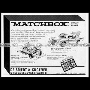 MATCHBOX-Lesney-MERCEDES-300-SE-MB46-HONDA-MOTO-TRAILER-MB38-1968-Pub-Ad-B451