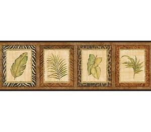 Wallpaper-Border-Designer-Palm-Leaves-in-Animal-Print-Frames-with-Black-Trim