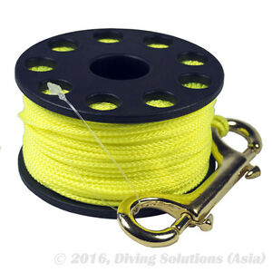 50m 150ft Finger Spool Yellow Reel Scuba Diving & Brass Snap Bolt
