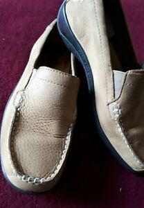 Hotter 'DASH' mocassin sand soft  leather Shoes Size 4 - comfort shoes VGC