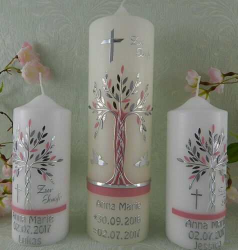 Taufkerzen Set Lebensbaum rosa silber 1 Taufkerze plus 2 Patenkerzen Mädchen