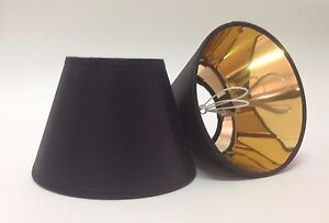 Image Is Loading Small Clip On Black Candle Lamp Shade Gold
