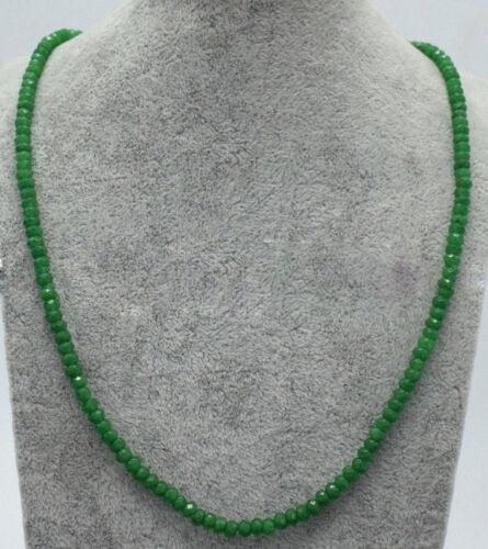 "Genuine 2x4mm naturel vert jade Facettes Gems Beads Necklace 18/"" Y22151"